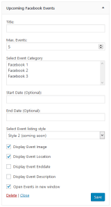 Upcoming Facebook Events Widget in backend