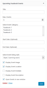 Upcoming Facebook Events Widget in backend