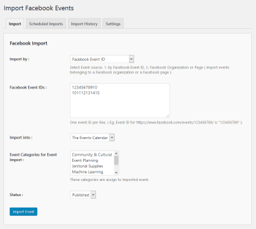 Import Facebook events by Event IDs.