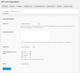 Facebook event import using Event IDs.