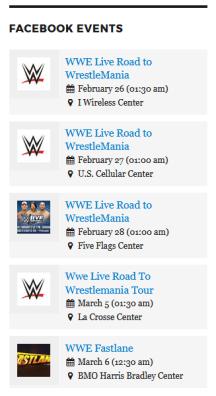 Display Facebook events widget front-end side.