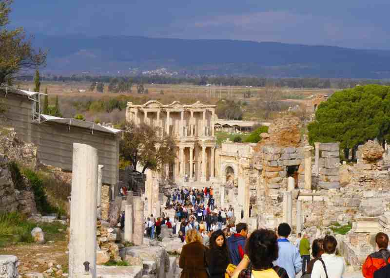 view of the marble road in Ephesus down to the library