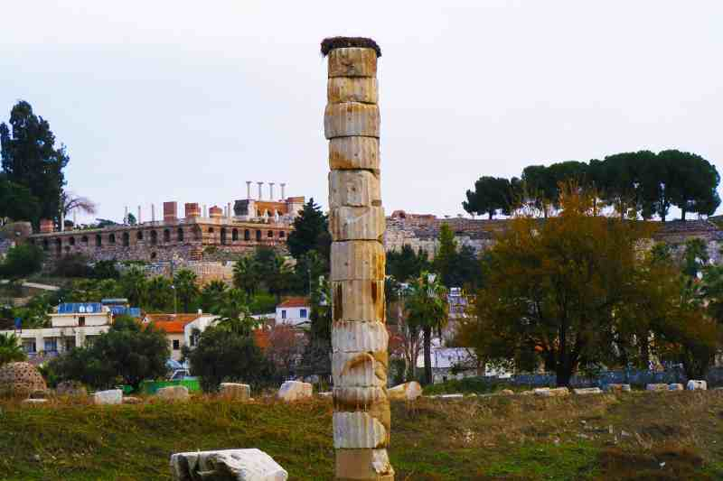 the sad remains of the one column left of Artemis Temple in Ephesus