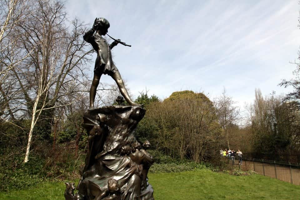 the Peter Pan statue that stands in Kensington Gardens