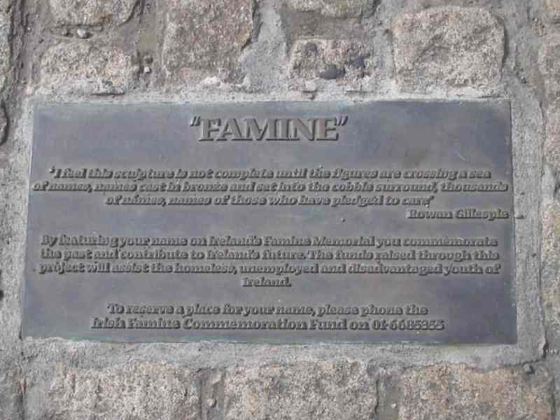 sign in memory of the Great Famine when the Irish Potato crop failed