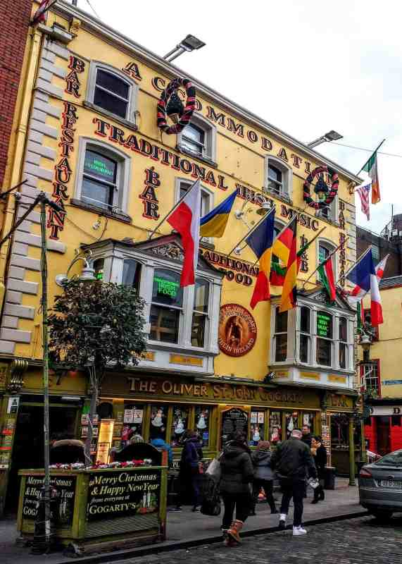 Gogarty's pub in temple bar number on is the 15 Dublin Don'ts for a cheap drink