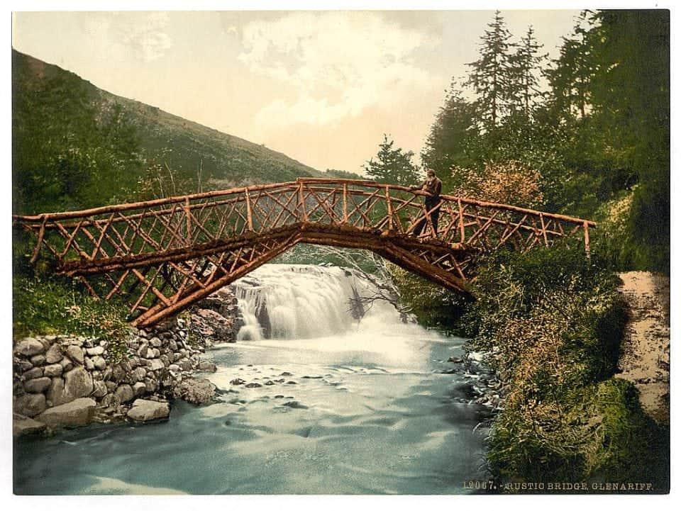 antique photo of a bridge in Glenariff