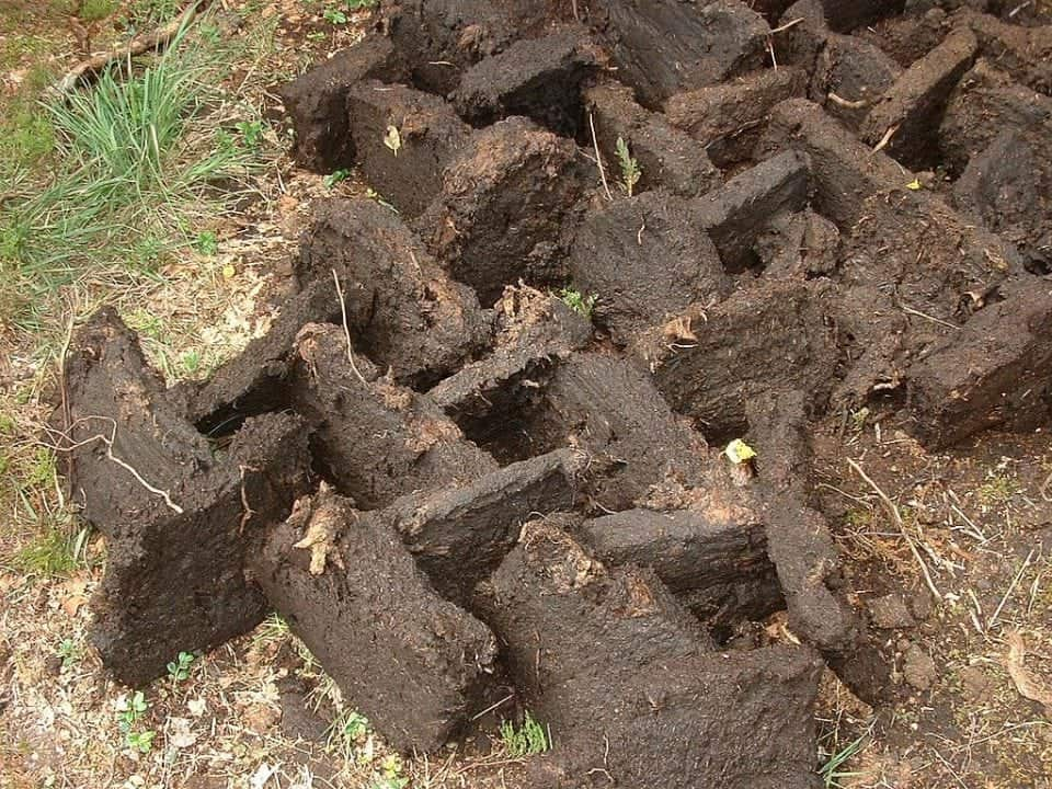 blocks of peat or turf drying in the sun to be used in Irish fireplaces