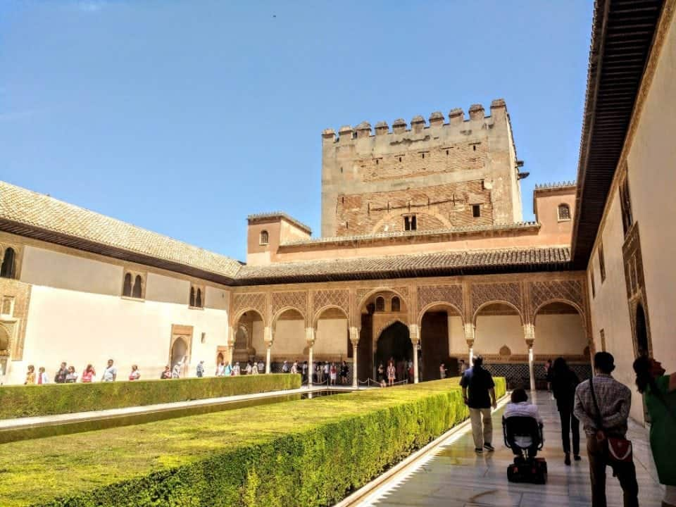 one of the many inner courtyards with water at the Alhambra