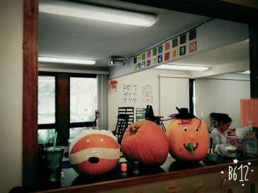 pumpkin decors in our classroom