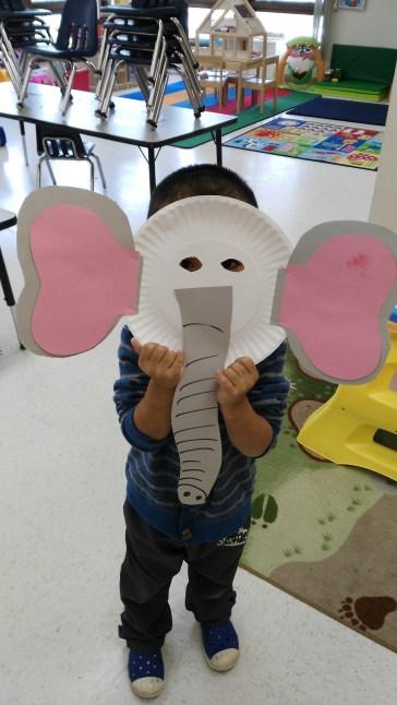 E for elephant---our cute elephant mask