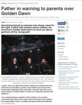 Ελευθεροτυπία Web, 29/04/2014, Damian Mac Con Uladh - Greek father warns parents over Golden Dawn