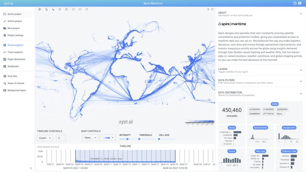 xyzt.ai explorer screen shot showing maritime data