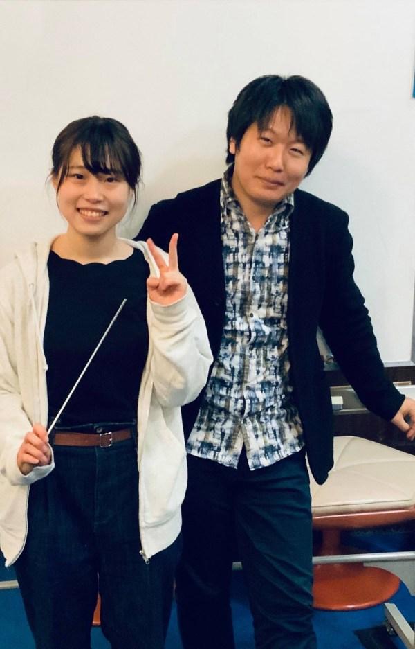 福井大学フィル学生指揮者、愛弟子の岡崎陽香さんと。チャイコフスキー五番、よく頑張った!