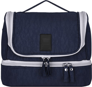 Customized Navy Blue Double Zipper Bags
