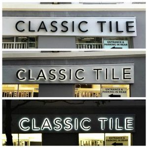 channel letter sign for tile store in