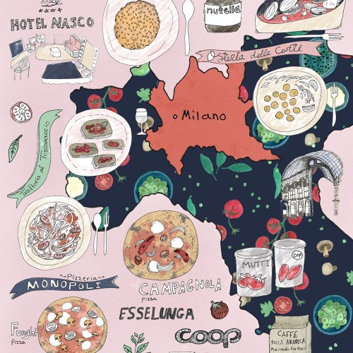 Italy Culinary Tour: Milan Illustrated Food Map | Food and travel illustration + Milan Illustrated Map | By Yaansoon Illustration + Art
