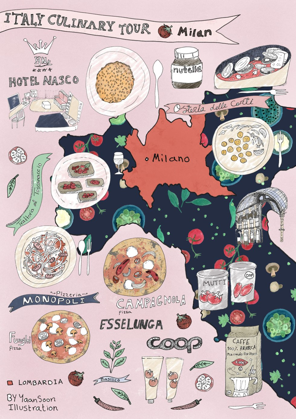 Italy culinary tour milan illustrated food map yaansoon italy culinary tour milan illustrated food map gumiabroncs Image collections