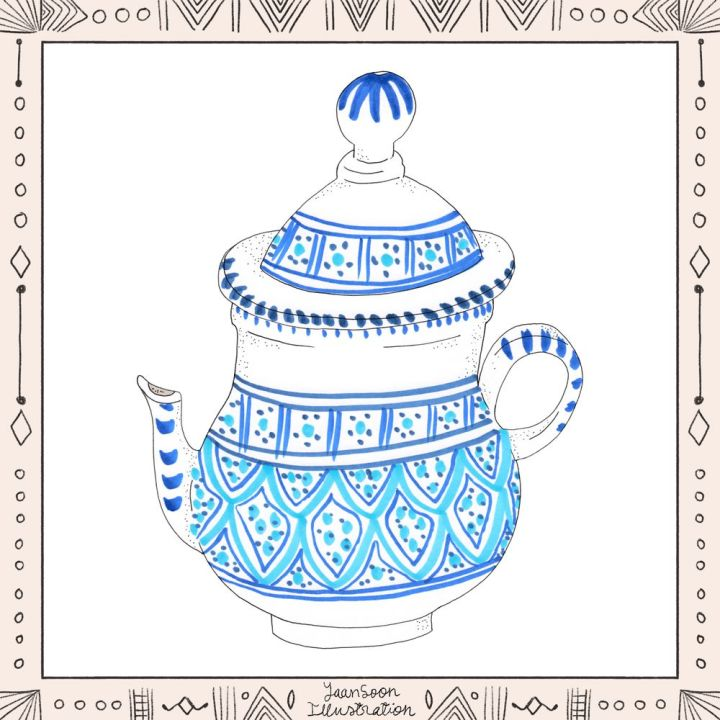 Illustrated North African Ceramic Ware: 8 Pottery Illustrations from My Multi-Cultural Heritage, Tunisian Ceramic Teapot | Yaansoon Illustration + Art | Pen-and-ink illustration, alcohol markers illustration, North African ceramics, blue and white pattern, dark blue motif