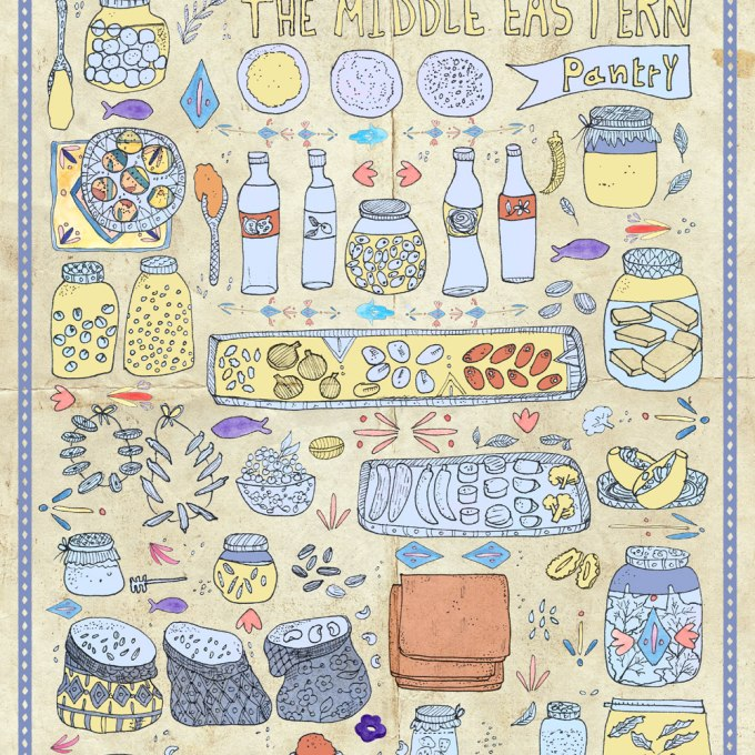 Mouneh: An Illustration of the Delectable Middle Eastern Pantry | Food and travel illustration By Yaansoon Illustration + Art | Food illustration, Middle Eastern Cuisine