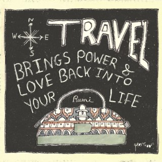 Hand-Lettered Travel Quote by Sufi poet Jalaluddin Rumi. Hand-lettering quote and illustration | By Yaansoon Illustration + Art