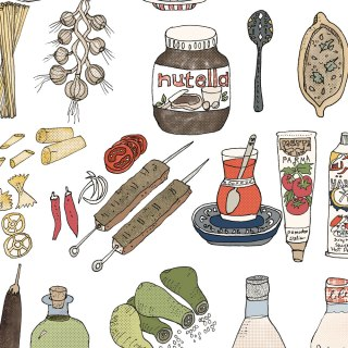 Mediterranean Food Illustrations: Italian, Moroccan & Turkish Culinary Tour | By Yaansoon Illustration + Art | Mediterranean Culinary Tour, Italian Food Illustration, Turkish Food Illustration, Travel Illustration, Mediterranean Food Illustration, Lebanese Food Illustration, Italian Culture Illustration, Editorial Illustration, Italian Cuisine, Pen and Ink Illustration, Food Migration