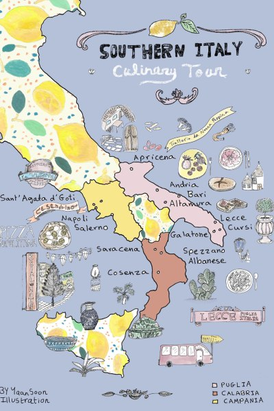 Italy Culinary Tour: Southern Italy Illustrated Map