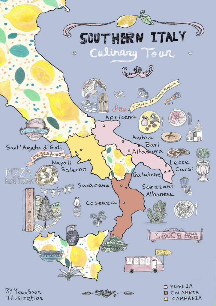 Map Of South Italy.Italy Culinary Tour Southern Italy Illustrated Map Yaansoon