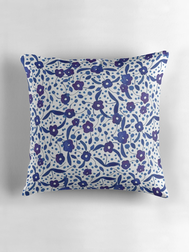 'Blue & White Florals in Gouache' by Yaansoon Illustration + Art on Redbubble | Illustrated Throw Pillow