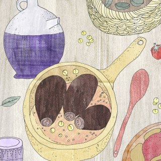 Baitinjan Mahshi bil Burghul: Lebanese Bulgur Stuffed Aubergine | Yaansoon Illustration + Art | Food Illustration & Recipe, Illustrated Recipes, Cultural Food Illustration, Illustrated Middle Eastern Recipes, Middle Eastern Cuisine, Middle Eastern Food Illustration, Lebanese Food, Levantine Cuisine, Mediterranean Food, Mediterranean Cuisine