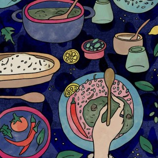 Egyptian Molokhia Food Illustration: Delicious Recipe with a Levantine Twist | By multi-cultural illustrator and artist Yaansoon | The Illustration Blog of a Nomadic Mediterranean Foodie | Middle Eastern Food Illustration, North African Food Illustration