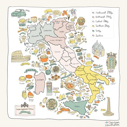 Italian Restaurant Wall Art Illustration: Illustrated Maps & Illustrated Recipes Commissioned by UK-Based La Mia Mamma | By Yaansoon Illustration + Art | Food illustration, travel illustration, Italy, Capri, Sicily, Rome, Regional Italian Food