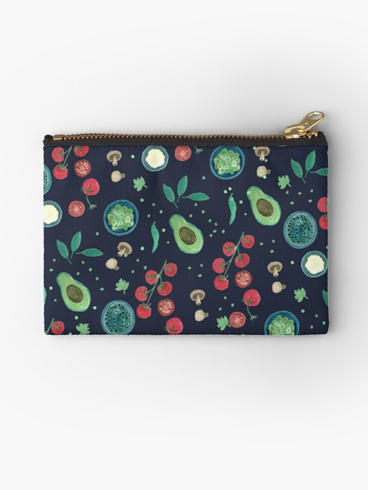 Italian Food Illustration Gouache - Studio Pouch by Yaansoon Illustration on Redbubble (Small) | Surface pattern design, gouache illustration, food pattern, Italian ingredients, avocado, cherry tomatoes