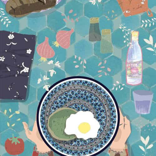 North African Mediterranean Food Illustration: Eclectic Flat Lay Table, reflecting the colourful & eclectic lifestyle of North Africa | By multi-cultural illustrator and artist Yaansoon | The Illustration Blog of a Nomadic Mediterranean Foodie