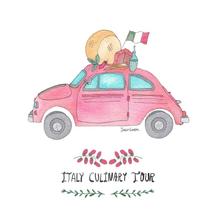 Italy Culinary Tour: An Illustrated Travel Blog Series Chronicling Yaansoon's Foodie Adventures Across Beautiful Italy – Yaansoon Illustration + Art | Food and Travel Illustration, Italian Food, Italian Flag, Fiat 500, Map Illustration, Illustrated Maps, Wanderlust, Trip to Italy, Hand-Lettering, Watercolour, Pen-and-Ink, Watercolour and Ink