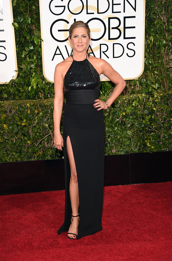 Jennifer Aniston in Saint Laurent and Neil Lane jewelry