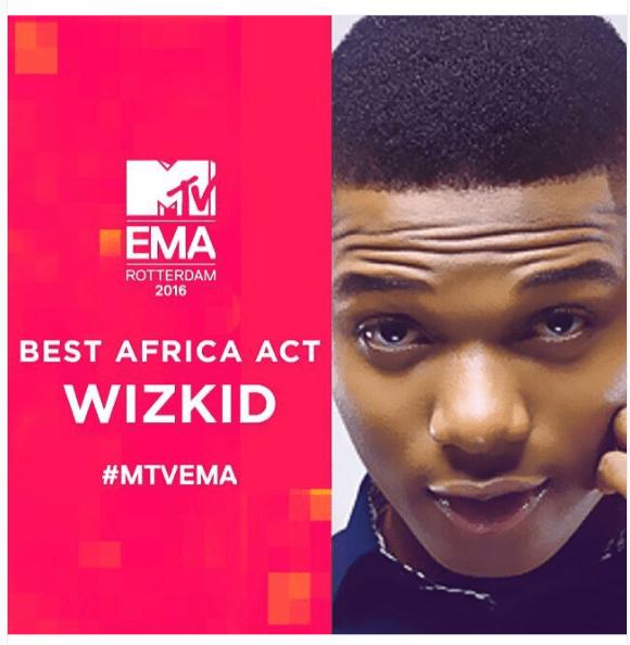 Wizkid Wins At The 2016 MTV Europe Music Awards