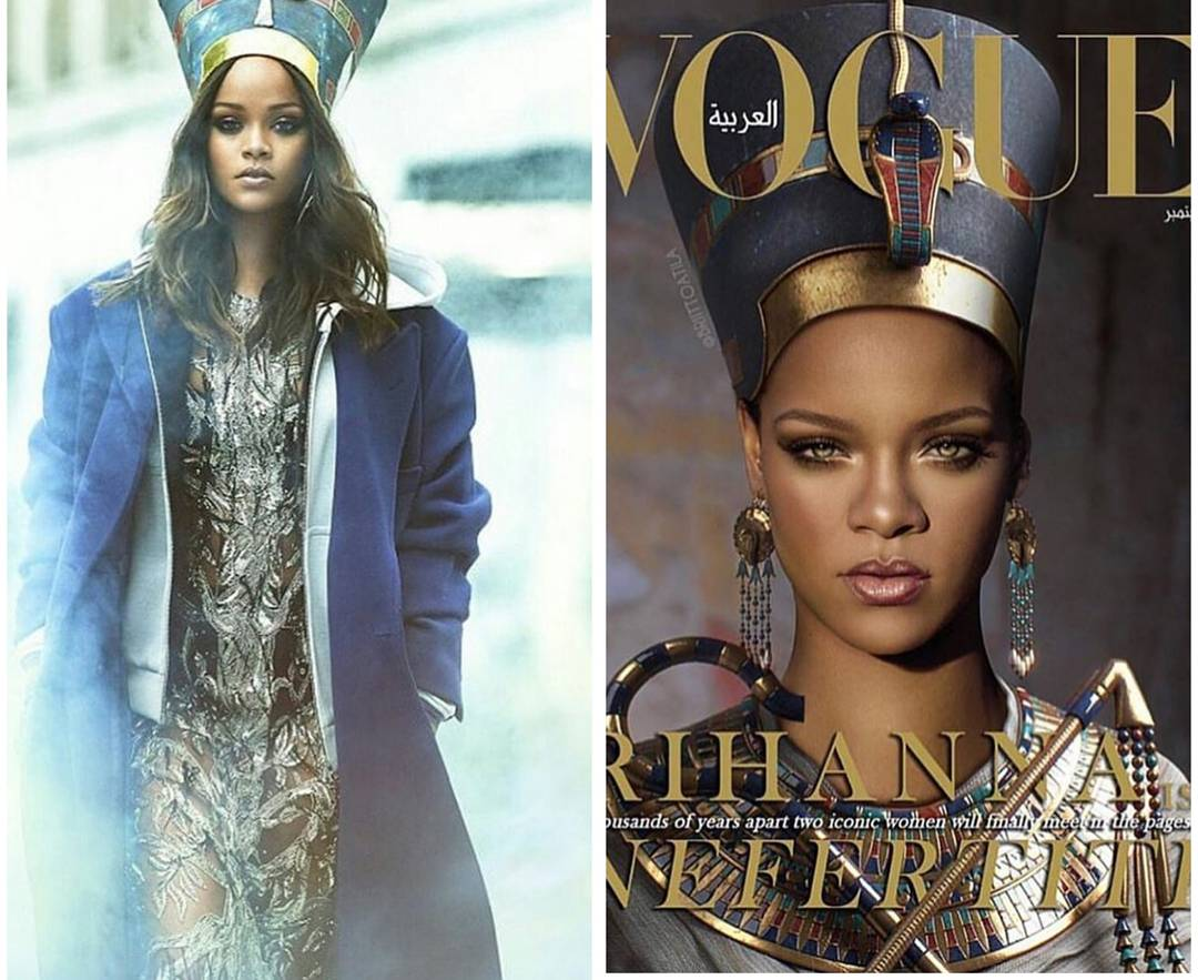 Rihanna Pays Homage To Queen Nefertiti. Peep The Latest Issue of Vogue Arabia