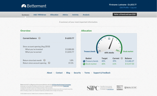 Betterment Screenshot