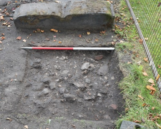 Rubble layer beneath the turf
