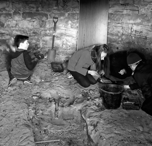 Excavating in the dust of the dovecote