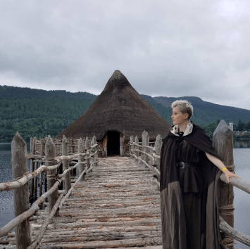 Annika (in the cape she made herself) and a crannog