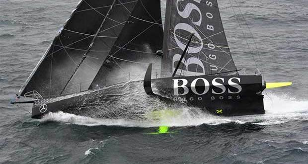 Hugo Boss, skipper Alex Thomson (GBR), off the Kerguelen Islands, during a flyover by the National French Marine Nivose Frigate, during the Vendee Globe, solo sailing race around the world, on November 30th, 2016 Marine Nationale / Nefertiti / Vendee Globe vendeeglobe.org