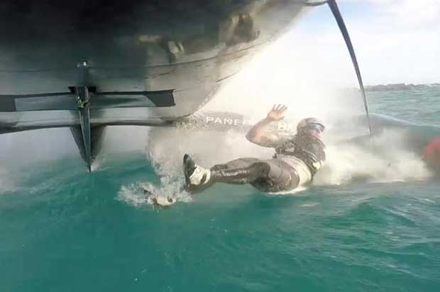 Oracle Team USA loses crew overboard ~ Video - sailing