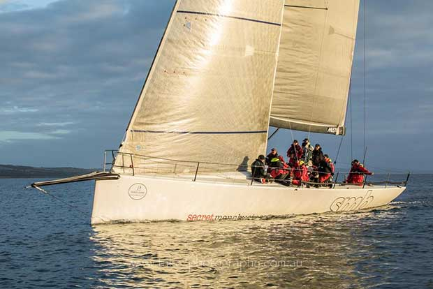 Secret Men's Business crossing the finish line in Boston Bay. - Teakle Classic Adelaide to Port Lincoln Yacht Race © Fran Solly