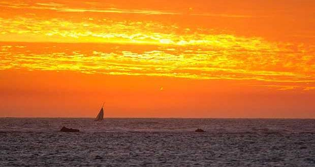 The double hander Kraken, sailed by Todd Giraudo and Dubbo White, disappears into the sunset after rounding the Lancelin mark. - West Coaster Ocean Race © Bernie Kaaks