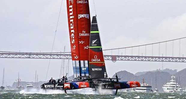 "Emirates Team NZ in San Francisco - the cavitation ""sound barrier"" for the AC72's is the same as for the AC50 - around 50kt of boat speed.s © Richard Gladwell www.photosport.co.nz"