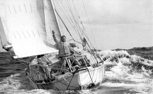 Robin Knox-Johnston aboard Suhaili at the finish of the 1968 Sunday Times Golden Globe Race © Bill Rowntree - PPL http://www.pplmedia.com