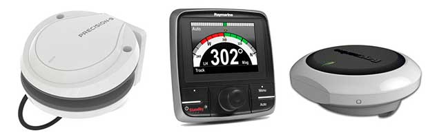Modern solid-state heading sensors, such as B&G's Precision 9 (left) and Raymarine's EV1 (right) — pictured alongside Raymarine's Evolution autopilot control head — are rugged, compact and designed to fit somewhere out of the way on the centerline of the boat. The data these devices collect can be shared with other onboard instruments.