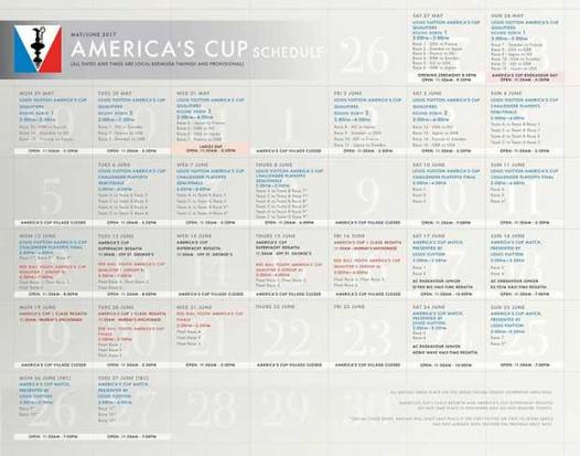 Revised America's Cup Race Schedule as at May 26, 2017 © ACEA http://www.americascup.com